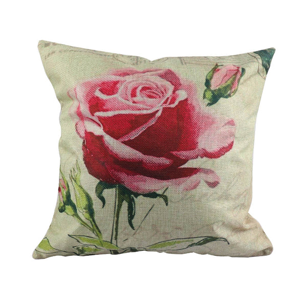 3 Chinese Style Wealth Rose Garden Home Decor Cushion Cover Fresh Flowers Linen Pillow Cover Decorative Throw Pillowcase