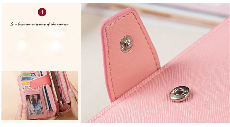 High-capacity candy-colored zipper wallet High quality Leather Handbag button Cross-shaped long section Wallets