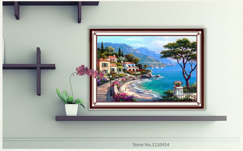 DIY Full Diamonds Embroidery Mediterranean landscape Round Diamond Painting Cross Stitch Kits Diamond Mosaic Home Decor