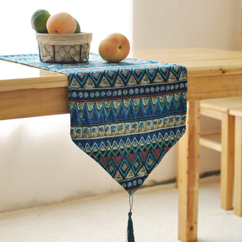 HELLOUOUNG Bohemia Cotton Linen Table Runner Cloth Tapestry 30x180cm Wedding Banquet Party Home Decor Blue Red 2 Size