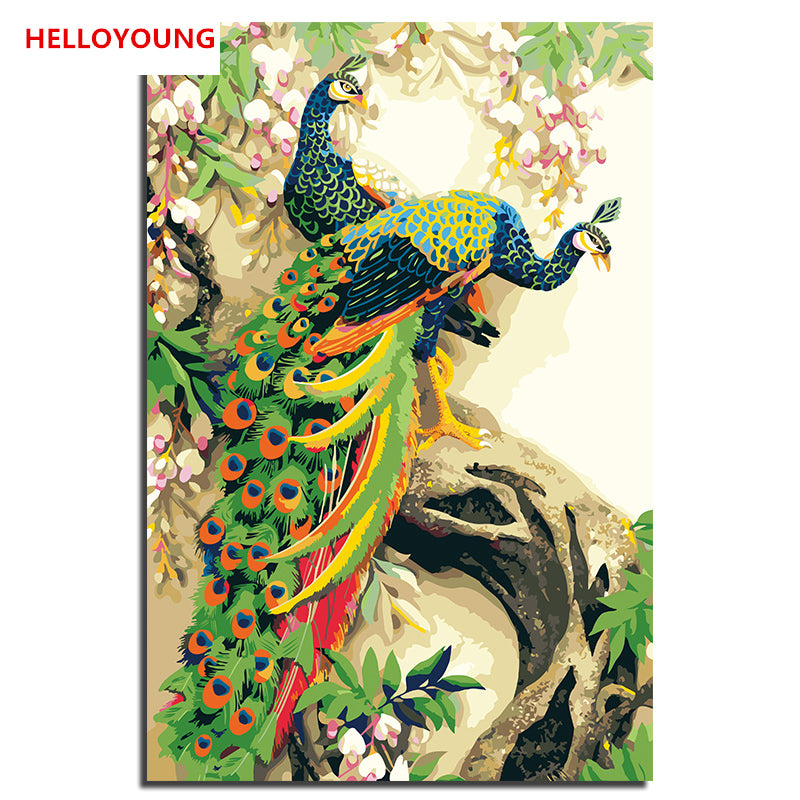 HELLOYOUNG Digital Painting picture drawing  Painting Peacock three by numbers oil paintings chinese scroll paintings Home Decor