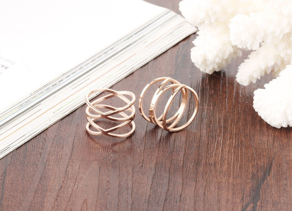 CIFBUY Unique Shaped Woman Wedding Party Bands Classical Rose Gold Color Cocktail Rings For Womens Fashion Jewellery 461