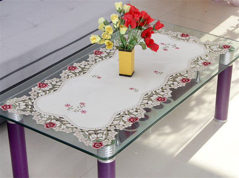 BZ319 European Luxury Tablecloth with Lace Edge Polyester Square Table Cover Embroidery Flowers Wedding Home Party Table Decorat