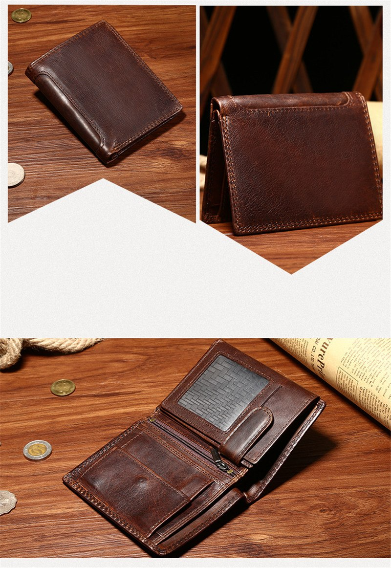 Casual multi-card position short wallet handbag High-quality men's wallet genuine leather money clamps
