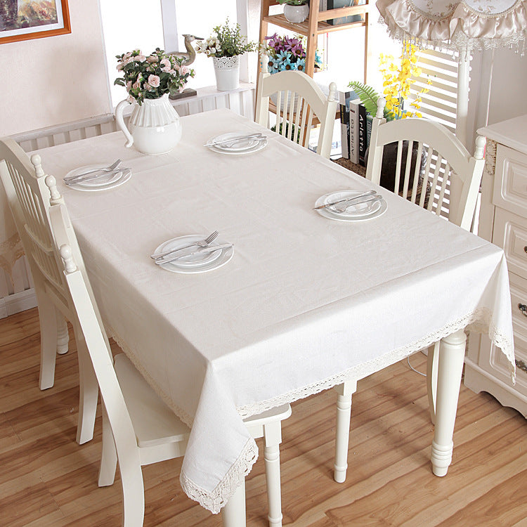 HELLOYOUNG White Decorative Table Cloth Cotton Linen Lace Tablecloth Dining Table Cover For Kitchen Home Decor U1132