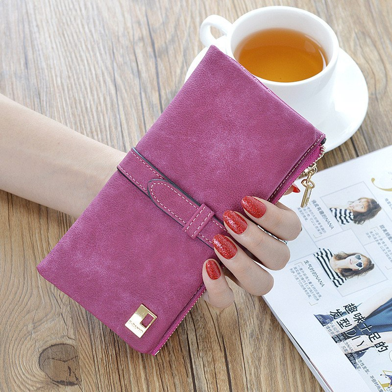 New Fashion Elegant Women Wallets Drawstring Nubuck Zipper Luxury Brand Famous Designer Card Wallet Women Purse PU Wallet Female