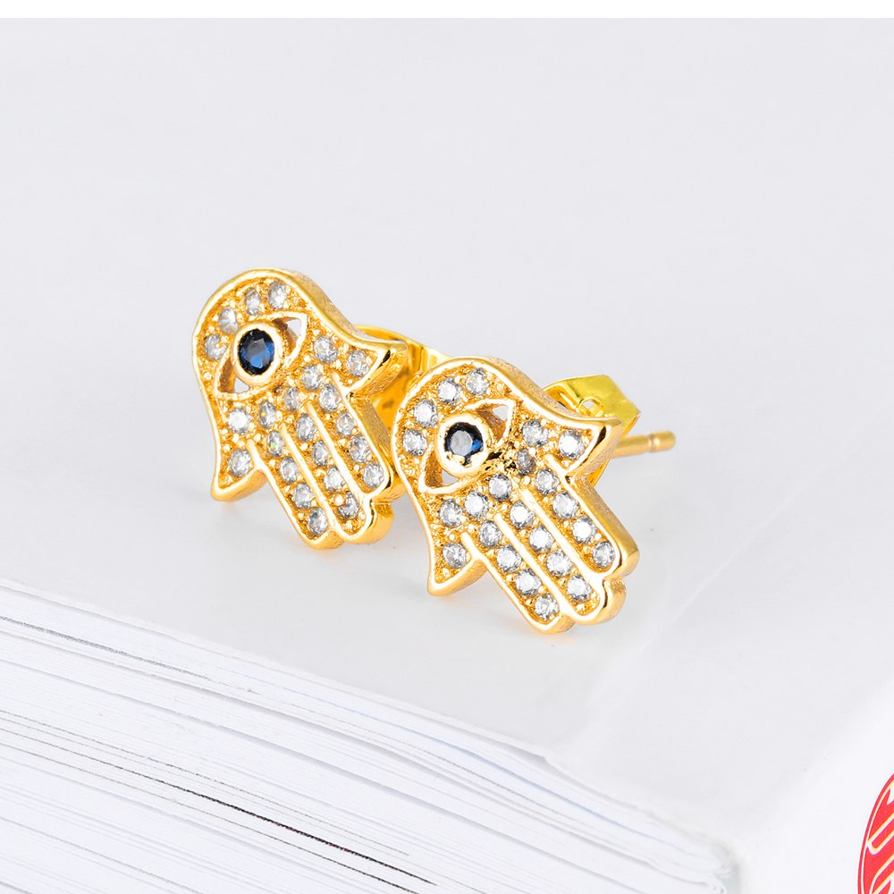 Luxury Fatima Women Stud Earrings White/Gold Color Cubic Zirconia Palm Design Ladies Earring Woman Jewelry Accessories KE726