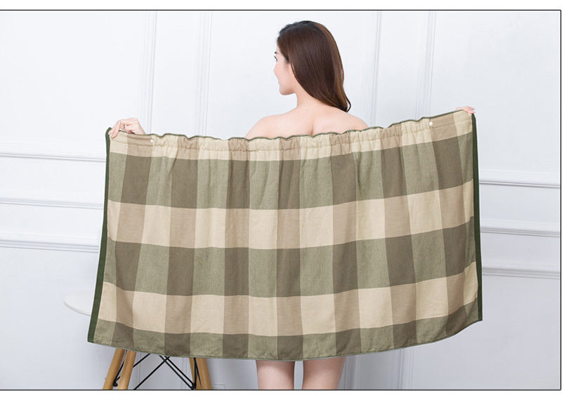 HELLOYOUNG Plaid Women Cotton Bath Towel Bath Robe Bathrobe Body Spa Bath Wrap Towel Super Absorbent Bath Gown