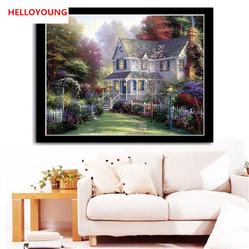 DIY 5D Diamonds Embroidery Villa forest landscape decorative painting Round Diamond Painting Cross Stitch Diamond Mosaic