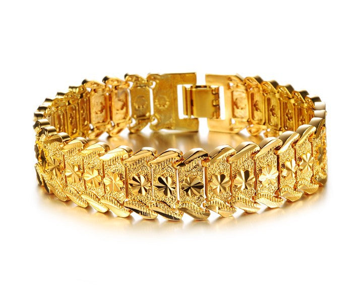 CIFBUY JEWELRY Luxury Gold Color Bracelet & Bangle Wide Surface 17mm Attractive Men Jewelry Top Workmanship 398