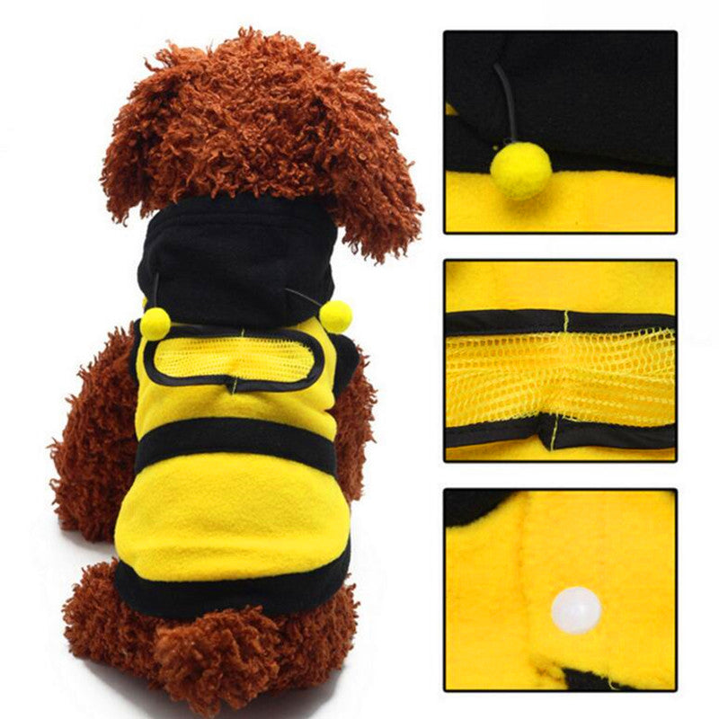 Dogs clothes Cute Fleece Bumble Bee Lovely Wings Dog Cat Pet Harness Costume Apparel Clothes Coat pets hoodies clothing