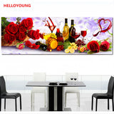 DIY 5D Diamonds Embroidery Romantic Restaurants Rose Wine Food Round Diamond Painting Cross Stitch Kits Diamond Mosaic