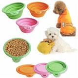 CW012 Foldable Portable Dog Bowl Cute Portable Silicone Collapsible Folding Pet Bowl Travel Cat Pet Bowl Feeding Water Food