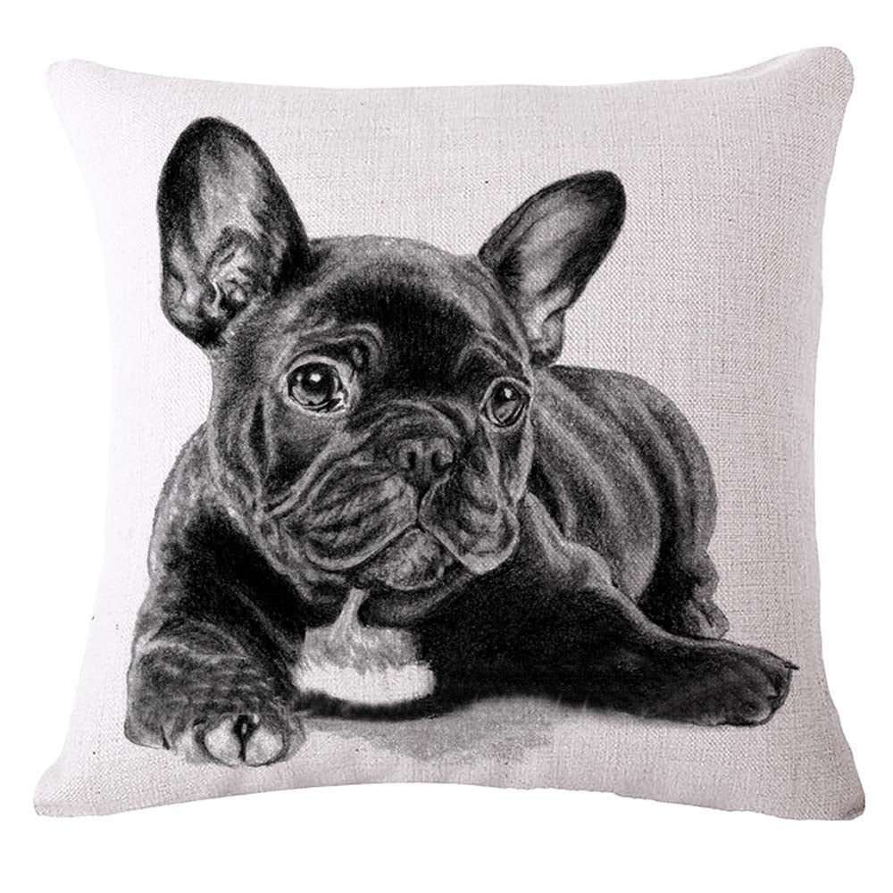 45*45cm SexeMara Lovely French Bulldog Pattern Cotton Linen Cushion Cover Waist Square Pillow Cover Pillowcase Home Textile