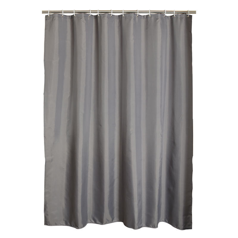 Gray Polyester Bathroom Waterproof Shower Curtains With Plastic Hooks