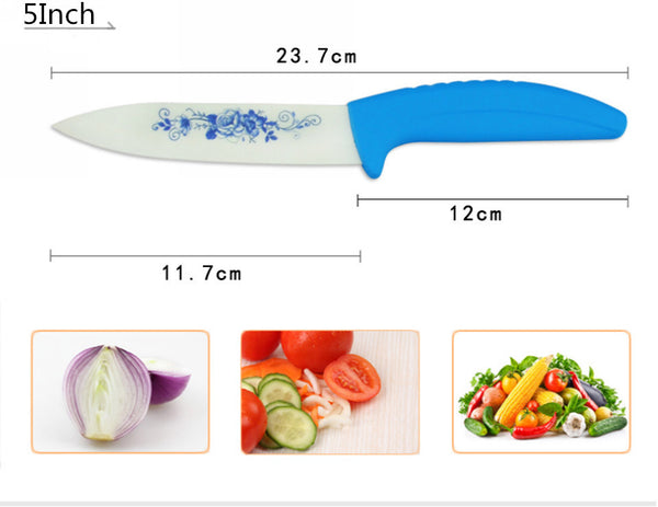 "Beauty Gifts Kitchen,dining & bar Blue Flower Painted Zirconia Ceramic fruit Knife Set Kit 3"" 5"" inch with + Peeler+Covers"