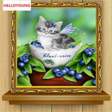 DIY Partial 5D Diamond Embroidery The Cute Cat Round Diamond Painting Cross Stitch Kits Diamond Mosaic Home Decoration