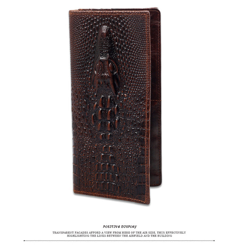 New leather men's wallet crocodile pattern leather long wallet purse leisure wallet for men money clamps