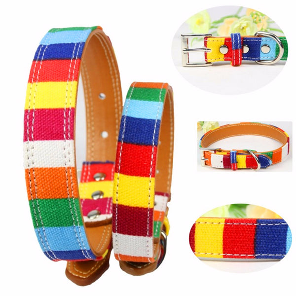 Leather Pet Dog collar Designer perro Collar Size S M L Leather Plain collar for big small dog Colorful Rainbow pu Dog collar