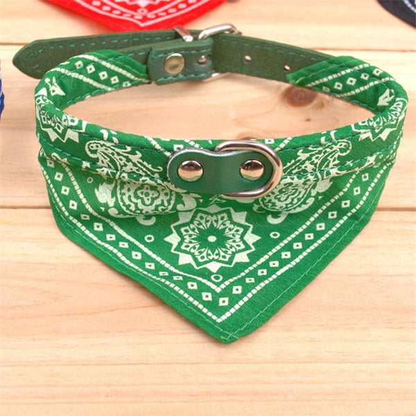 CW013 Pet dog collar printed fashion pet supplies scarf dogs Cat collar leather personality pet collar four colors