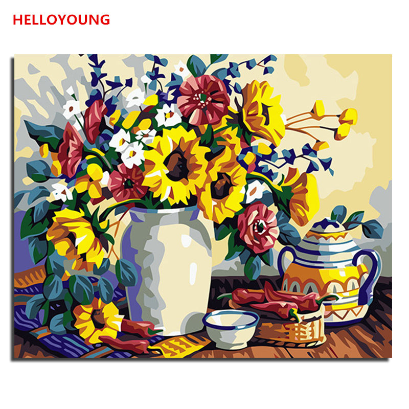 HELLOYOUNG DIY Handpainted Oil Painting Zouju Sheng put Digital Painting by numbers oil paintings chinese scroll paintings