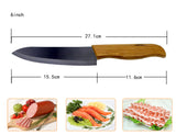 "Brand High sharp quality Bamboo handle with black blade Ceramic Knife Set 3"" 4"" 5"" 6 "" inch+Holder/Stand"