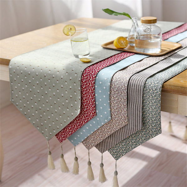 Modern Table Runner Printed Floral Linen Cotton Table Runner For Wedding  Party Home Hotel Table Decoration