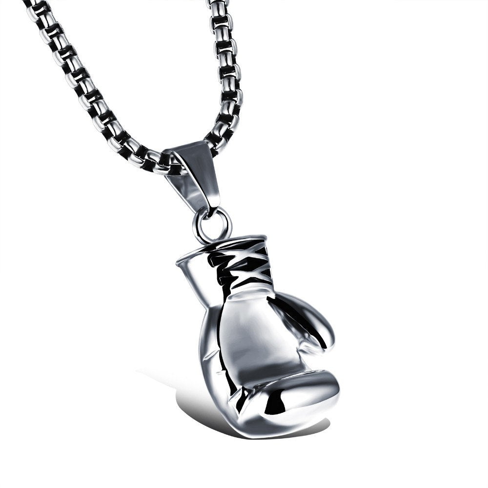 CIFBUY Black/Steel / Gold Color Fashion Mini Boxing Glove Necklace Boxing Jewelry Stainless Steel Cool Pendant For Men Boys Gift