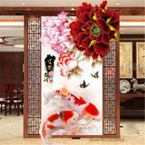 DIY 5D Diamonds Embroidery Peony Blossoming flowers and Fish Round Diamond Painting Cross Stitch Kits Diamond Mosaic