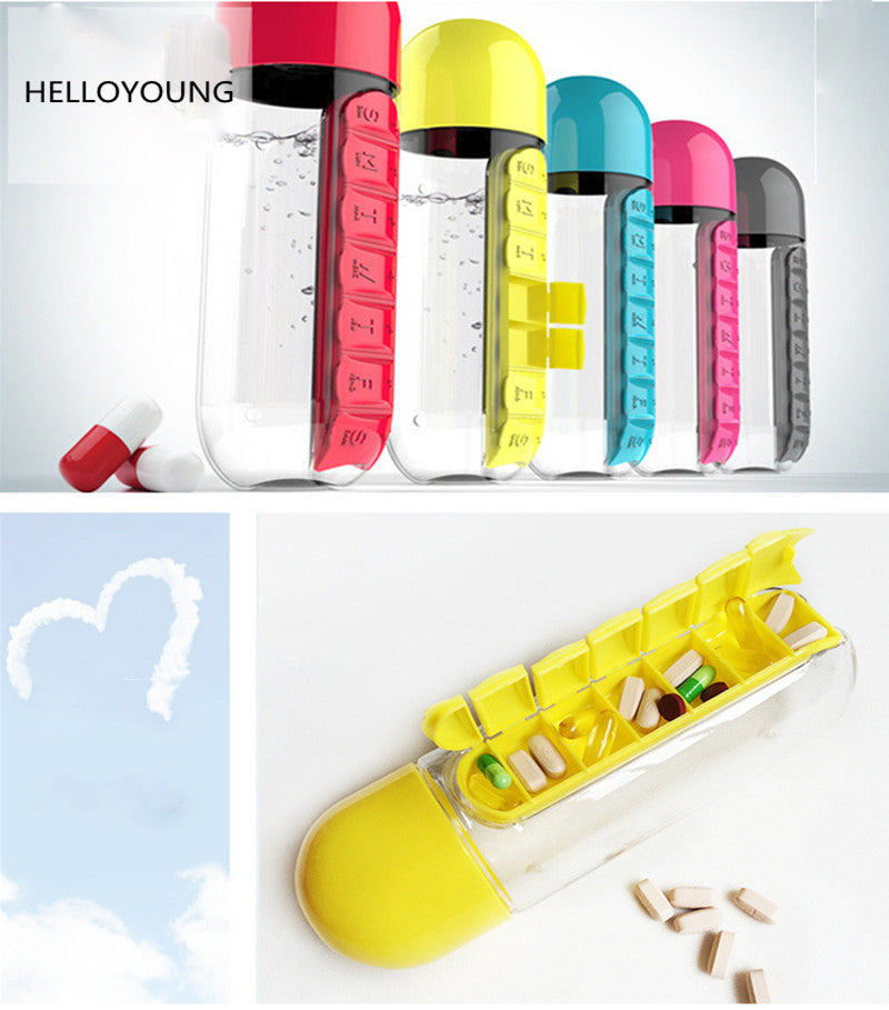 HELLOYOUNG 600ML Plastic BPA Free Water Bottle Daily Pill Box Organizer Drinking Bottles