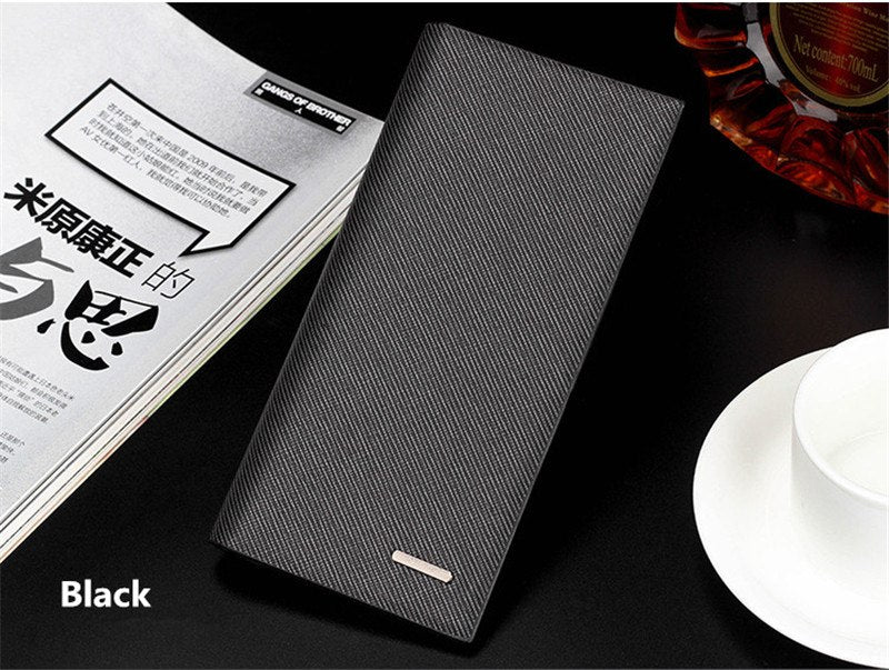 Casual Men's long thin wallet Korean version High quality PU leather clutch genuine multi-card & ID Holders money clamps