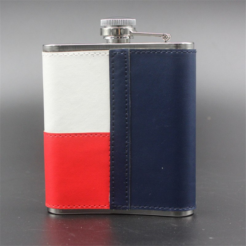 High Quality 7 oz Blue and White Portable Stainless Steel Hip Flask Whiskey Wine Pot Out Door Drinkware
