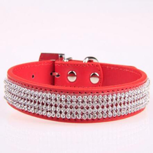 CW010 New Bling small Dog Collar PU Leather Rhinestone diamond Pet Puppy Cat collar Fashion Necklace dog collars S , M , L size