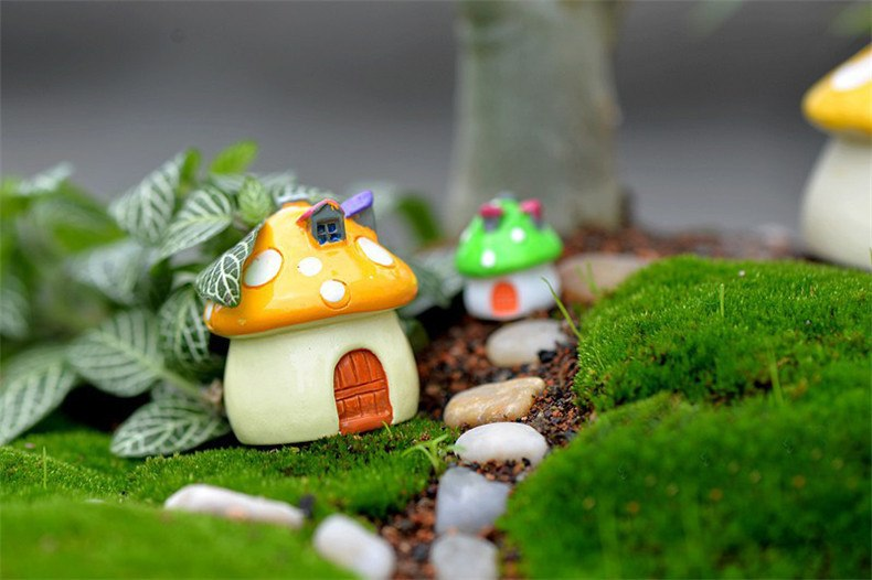 XBJ022 Kawaii Mini Mushroom House Garden Decoration Resin Crafts Garden Ornaments for Bonsai Micro Landscape Diy Craft