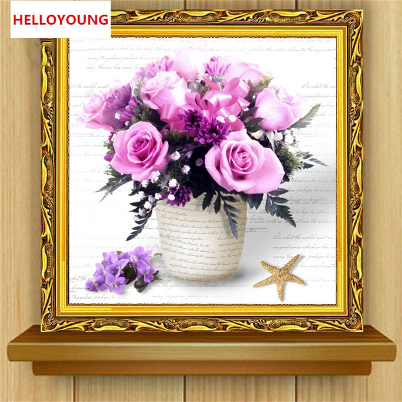 DIY 5D Diamond Embroidery Purple Flowers Round Diamond Painting Cross Stitch Kits Diamond Mosaic Home Decoration
