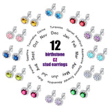 CIFBUY Classic Birthstone Stud Earring For Women AAA+ Cubic Zirconia 12 Months Female Ladies Birth Day Jewelry Girl's Gift DE600