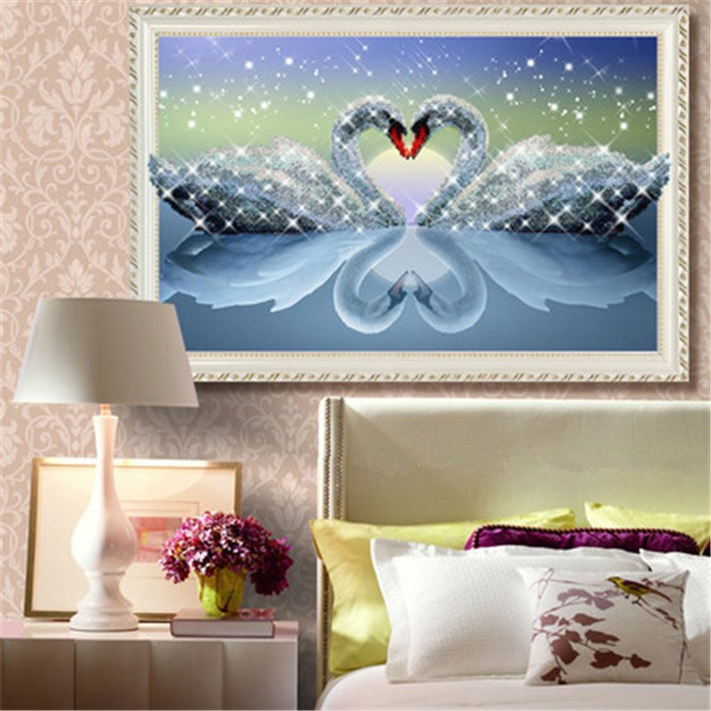 Newest 5D DIY Round Diamond Painting Cross Stitch Kit Swan Soulmate Home Decoration Living room  Rhinestone Embroidery