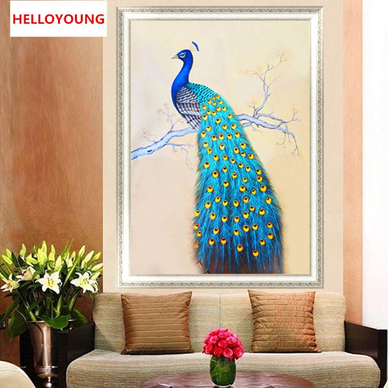 DIY 5D Diamonds Embroidery Mosaic The spirit of the peacock Round Diamond Painting Cross Stitch Kits Home Decor