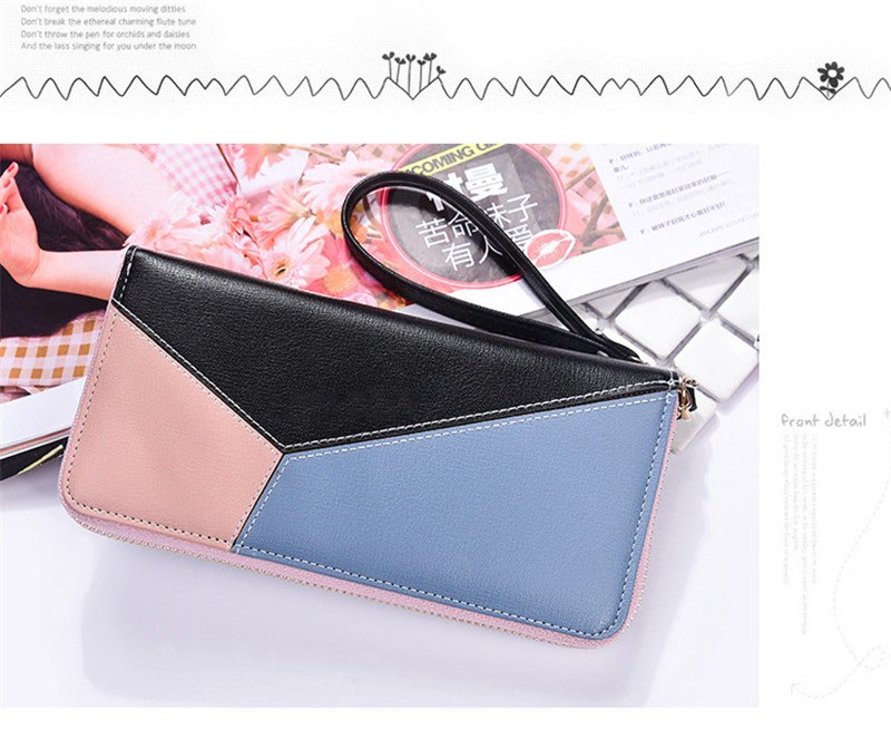 Splicing zipper phone bag High-quality leather Fashion New Korean version simple hand wild long womens purse women wallet