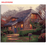 HELLOYOUNG Digital Painting DIY Handpainted Oil Painting Quiet home by numbers oil paintings chinese scroll paintings Home Decor