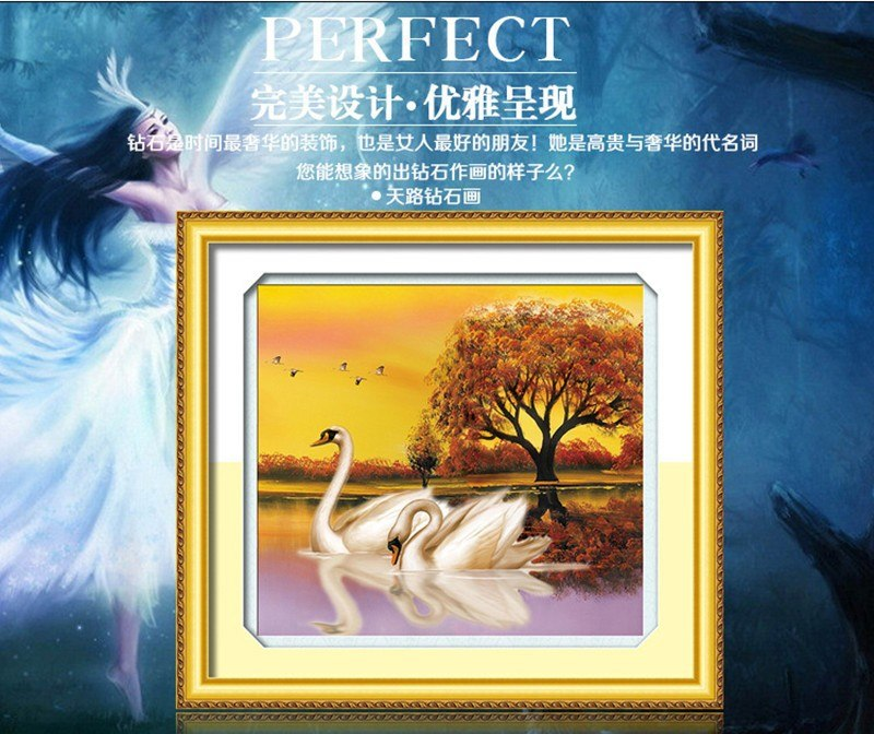 DIY 5D Fly together Always be in love Soulmate Swan Love  each other Kit Round Diamond Painting Cross Stitch Home Decor