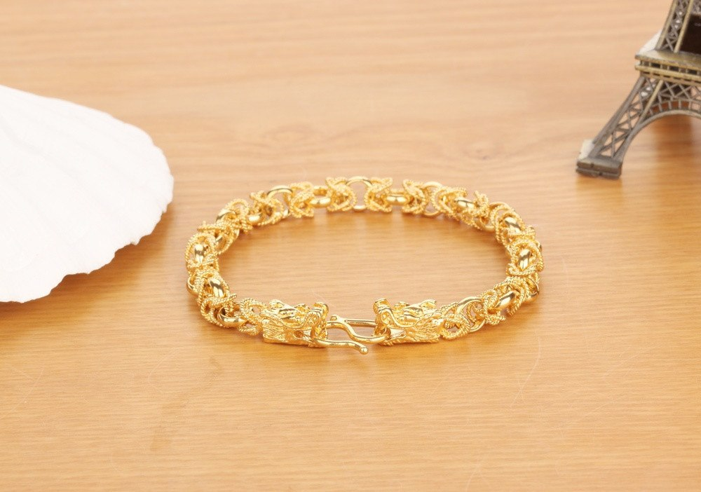 Luxury Gold Color Mans Bracelets Punk Style Dragon Heads Mens Jewelry Link Chain Friendship Wristband KS445