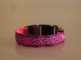 LED Dog Collar Light Flash Leopard Collar Puppy Night Safety Pet Dog Collars Products For Dogs Collar Colorful Flash Light Neck
