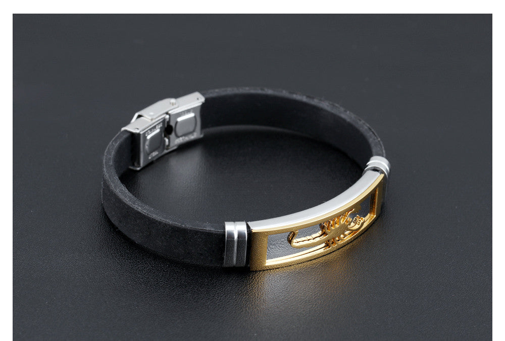 CIFBUY Silicone Man Bracelets Fashion Stainless Steel Scorpion Design Length Adjustable Cool Men Jewelry Bangles PH1085