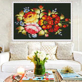 DIY Full 5D Diamond Embroidery The floral Round Diamond Painting Cross Stitch Kits Diamond Mosaic home  Decoration