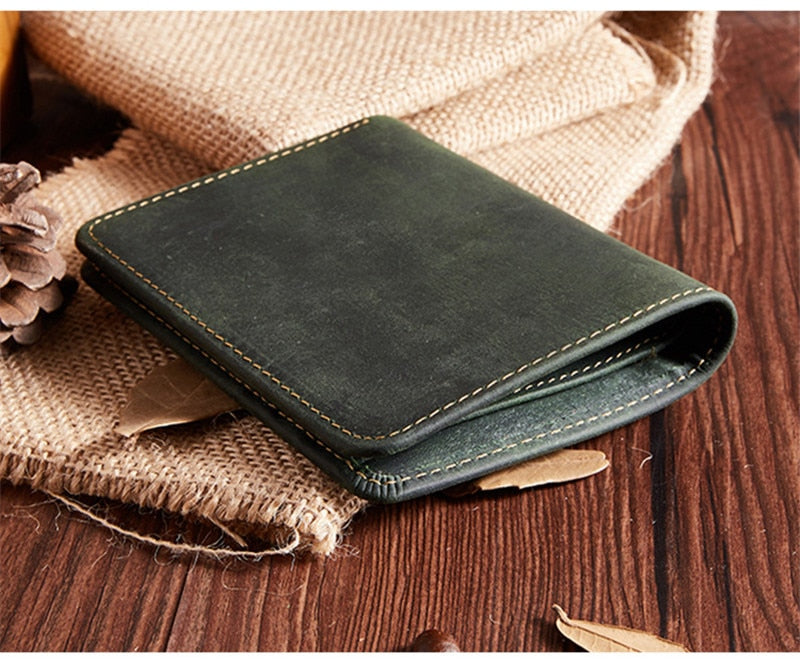 Hot models crazy leather leather men's short wallet retro casual horizontal paragraph bag Card & ID Holders men's purse