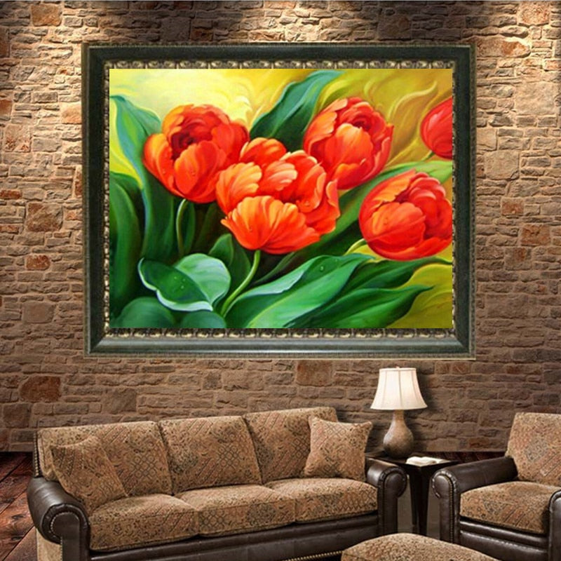 DIY 5D Full Diamond Embroidery Beautiful Tulip Round Diamond Painting Cross Stitch Kits Diamond Mosaic Home Decoration