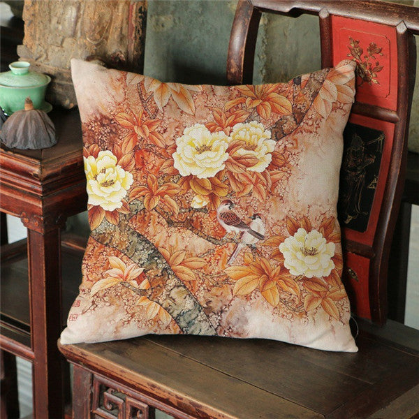 Chinese Style Peony Flowers Printed Linen Cushion Cover Decorative Pillow Covers for Sofa Car Decor Home capas para almofadas