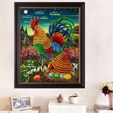 DIY 5D Partial Diamond Embroidery Cock and Hen Diamond Painting Cross Stitch Kits Diamond Mosaic Home Decoration