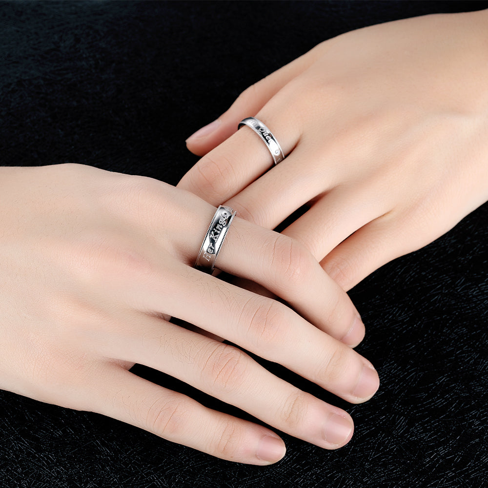 "New Arrival Romantic Couple Rings ""Her King His Queen"" Stainless Steel Engraving Ring For Lover Best Jewelry Gift GJ607"